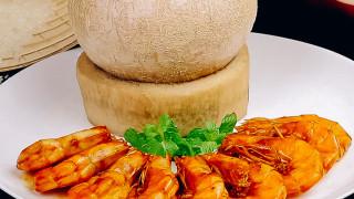 Cơm hấp trái dừa - Tôm rim
